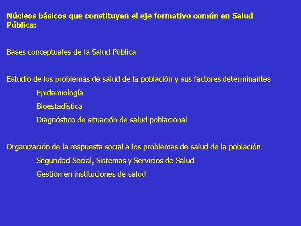 Núcleos básicos que constituyen el eje formativo común en Salud Pública:
