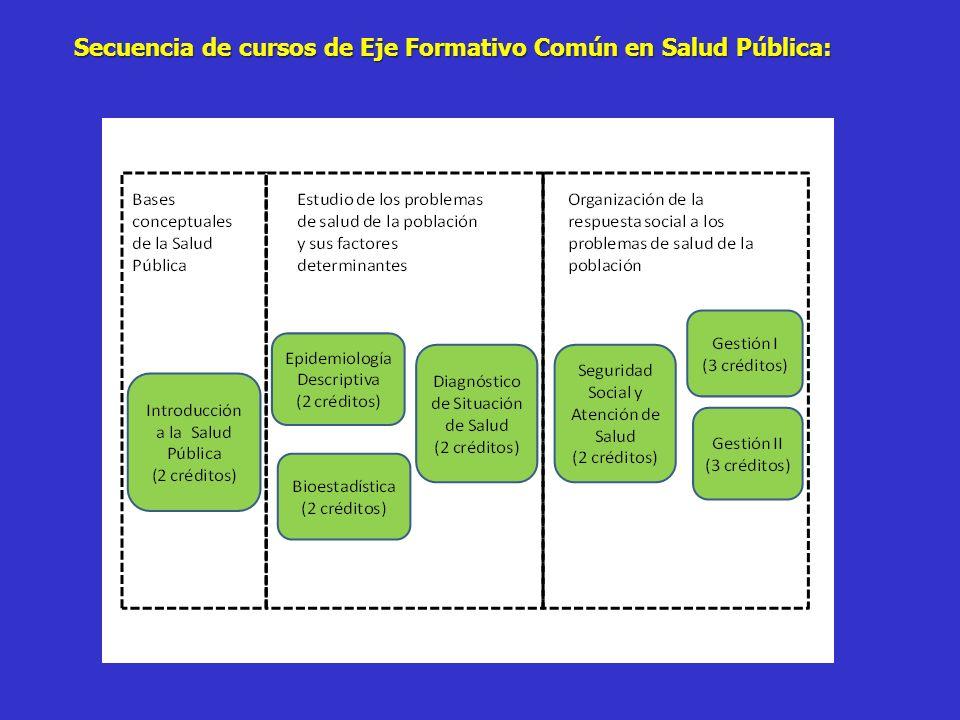 Secuencia de cursos de Eje Formativo Común en Salud Pública:
