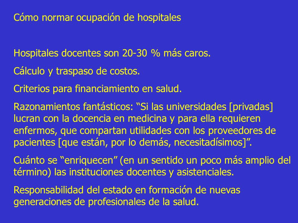 Cómo normar ocupación de hospitales