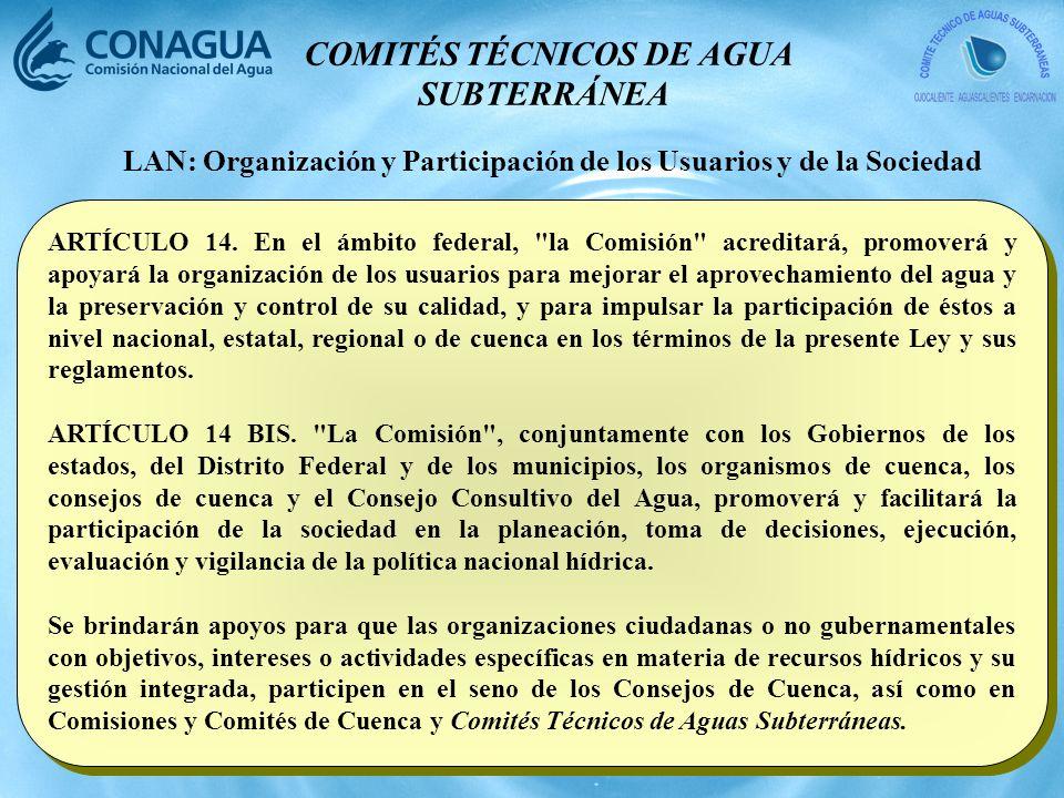 COMITÉS TÉCNICOS DE AGUA SUBTERRÁNEA