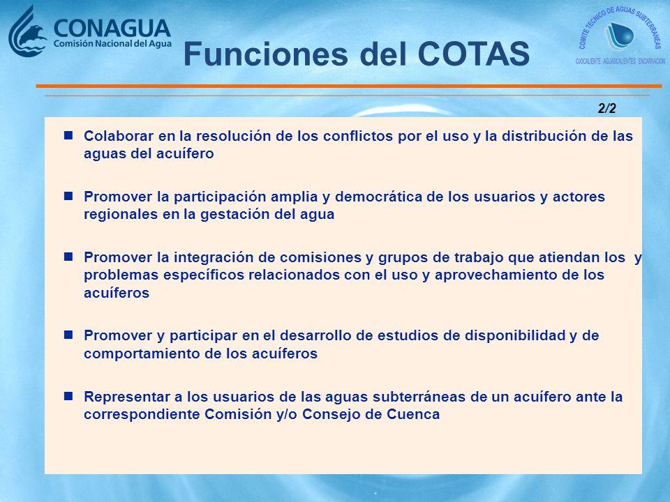 Funciones del COTAS 2/2. Colaborar en la resolución de los conflictos por el uso y la distribución de las aguas del acuífero.