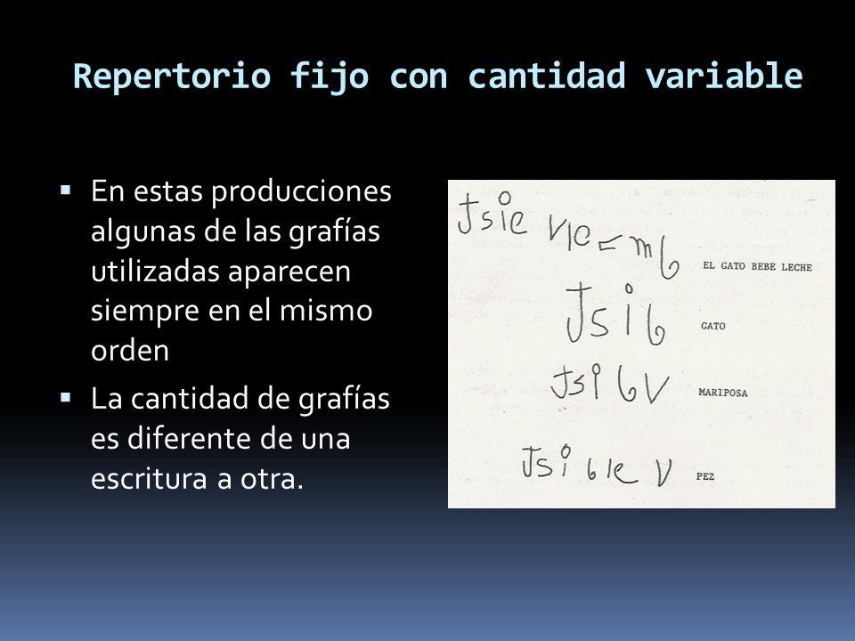 Repertorio fijo con cantidad variable