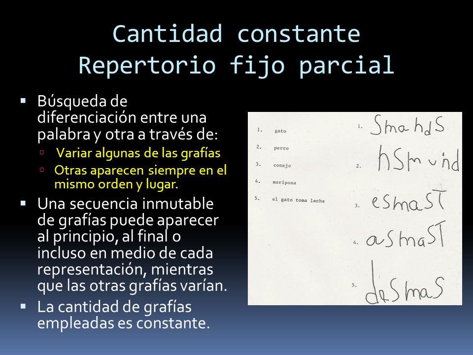 Cantidad constante Repertorio fijo parcial