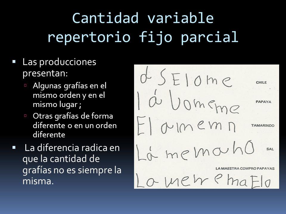 Cantidad variable repertorio fijo parcial