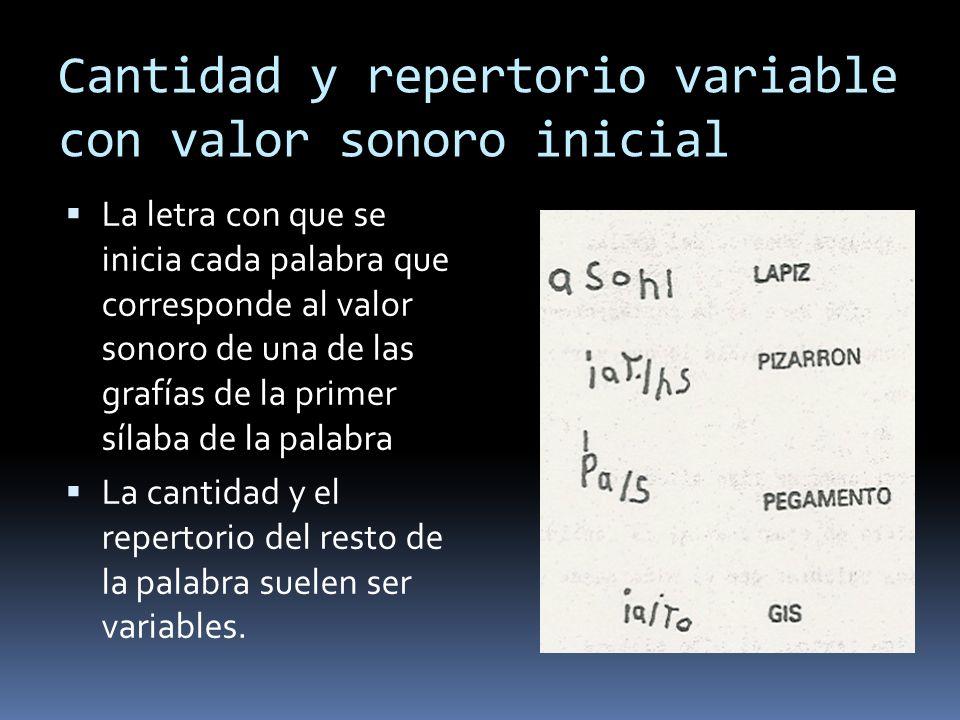 Cantidad y repertorio variable con valor sonoro inicial