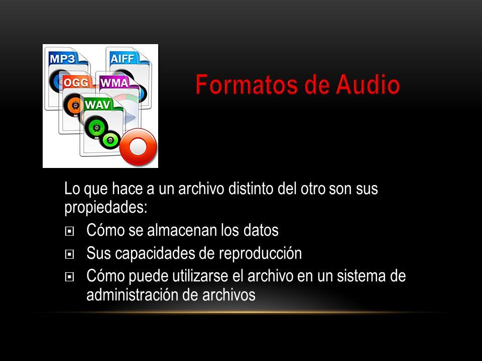 Formatos de Audio Lo que hace a un archivo distinto del otro son sus propiedades: Cómo se almacenan los datos.