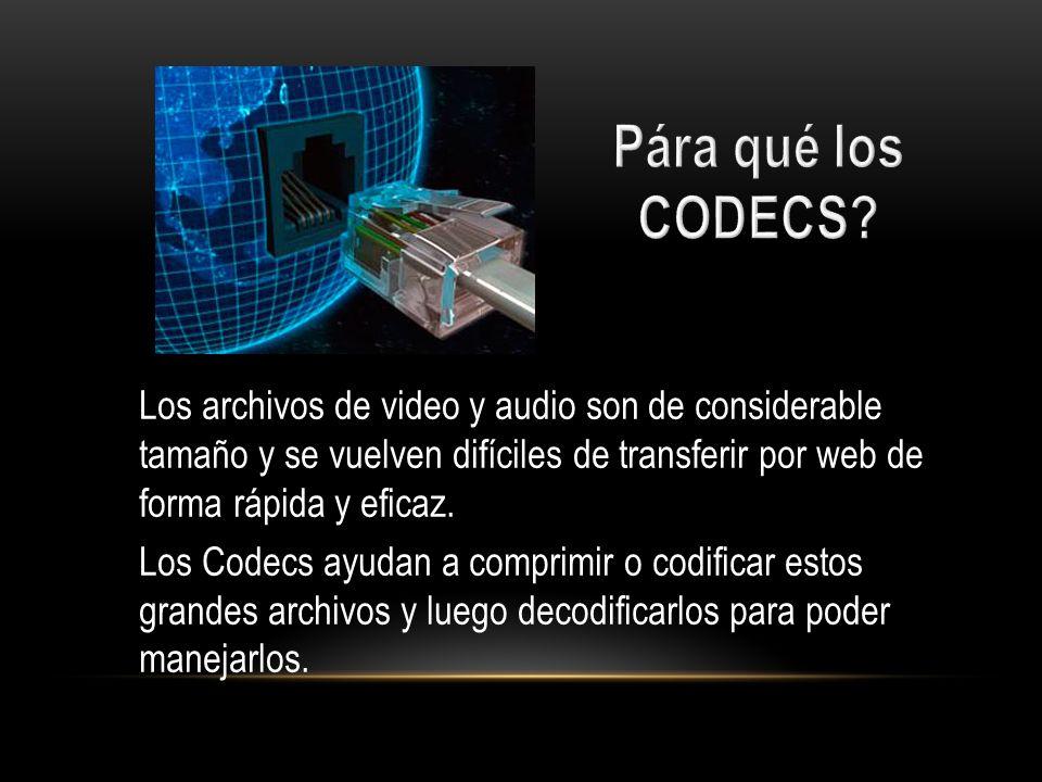 Pára qué los CODECS Los archivos de video y audio son de considerable tamaño y se vuelven difíciles de transferir por web de forma rápida y eficaz.