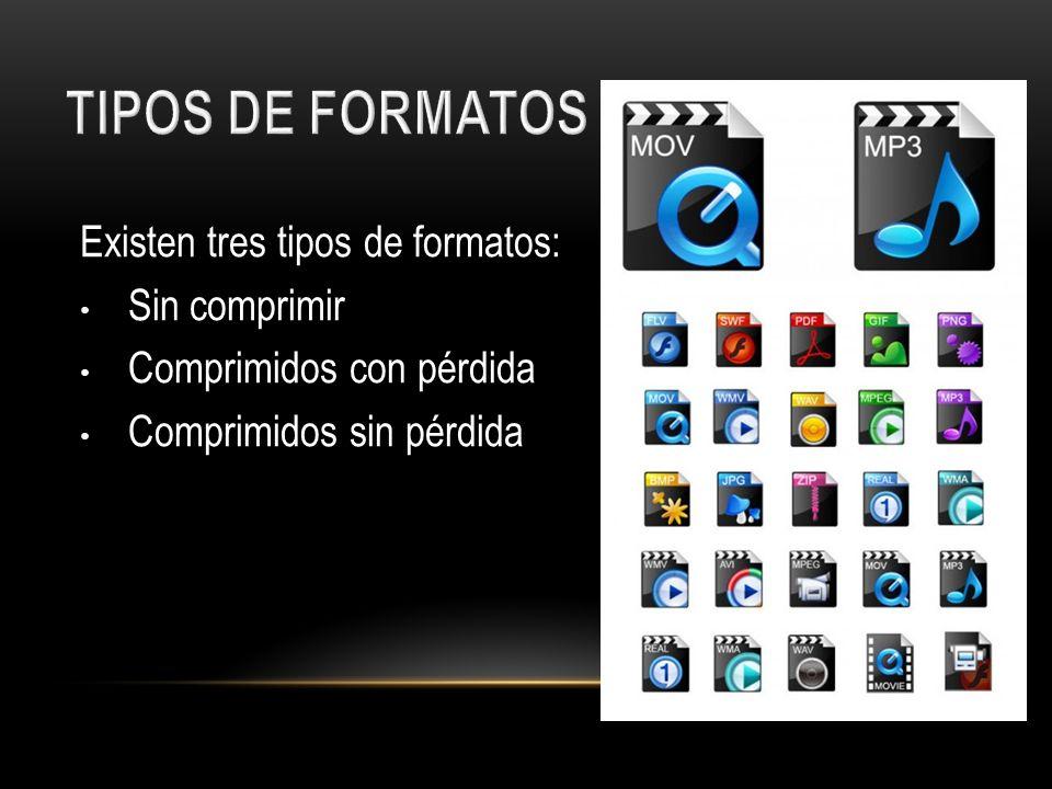 TIPOS DE FORMATOS Existen tres tipos de formatos: Sin comprimir