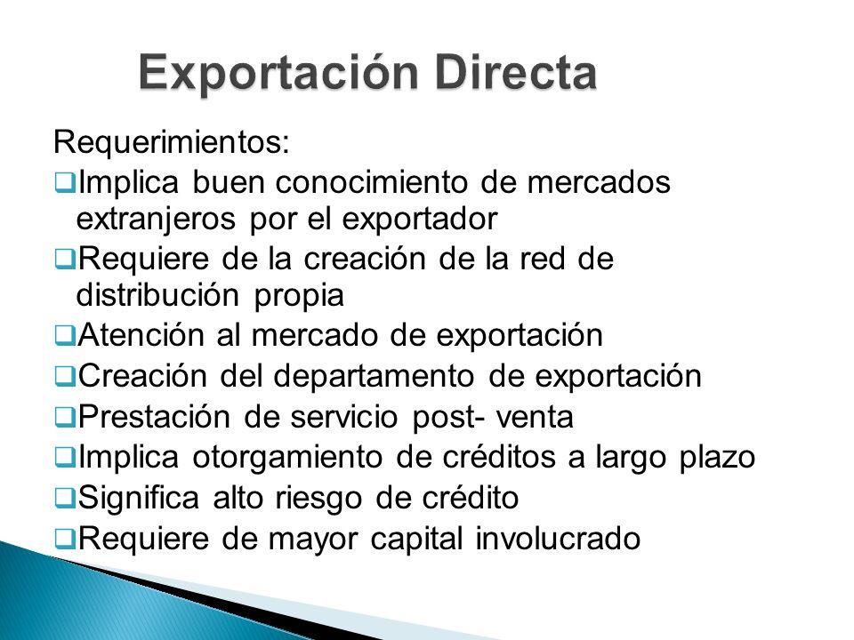 Exportación Directa Requerimientos:
