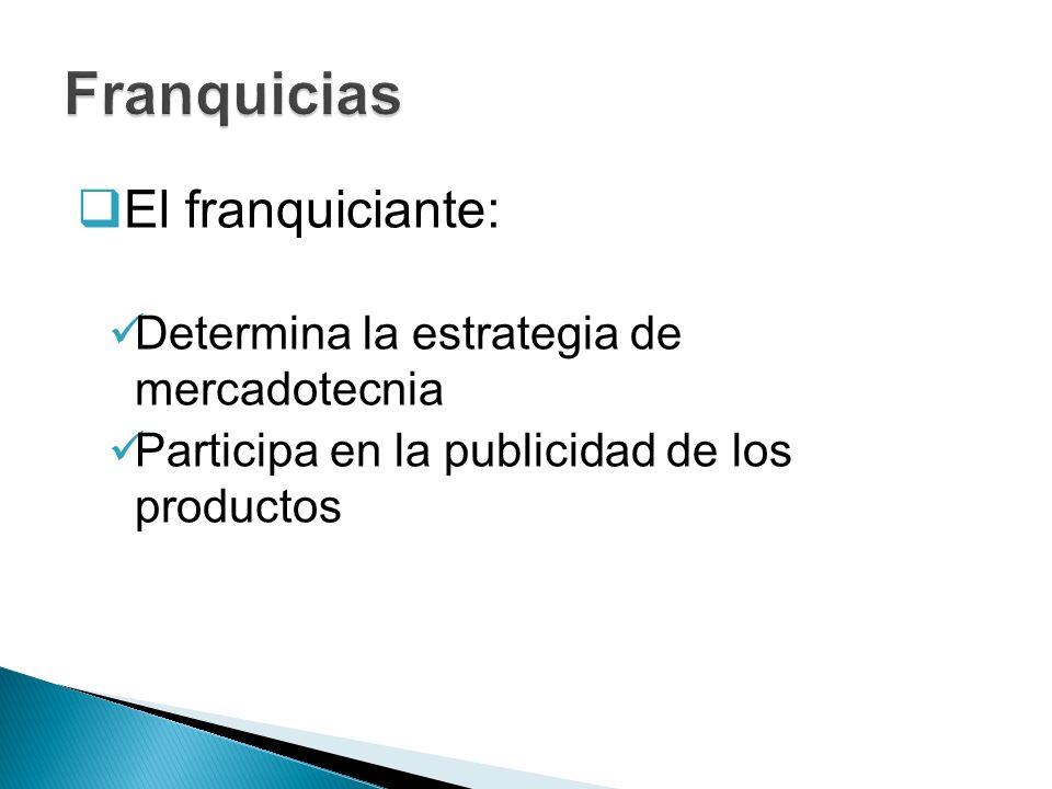 Franquicias El franquiciante: Determina la estrategia de mercadotecnia
