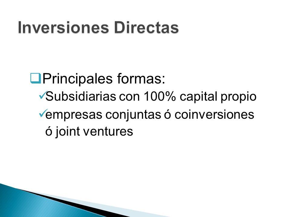 Inversiones Directas Principales formas: