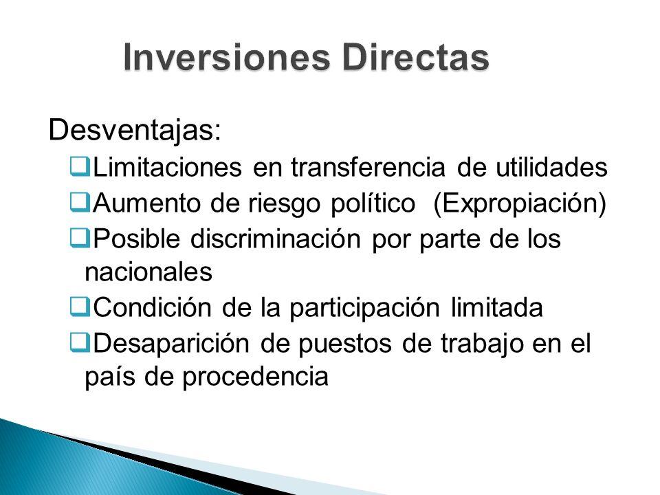 Inversiones Directas Desventajas: