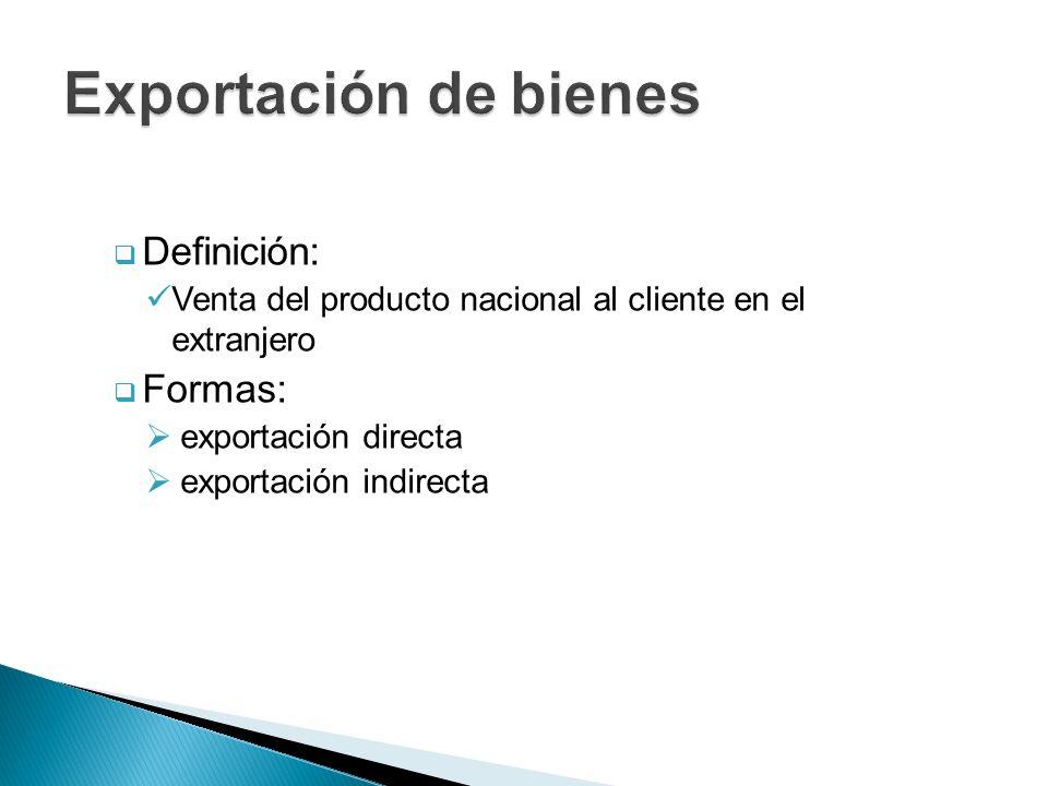 Exportación de bienes Definición: Formas: