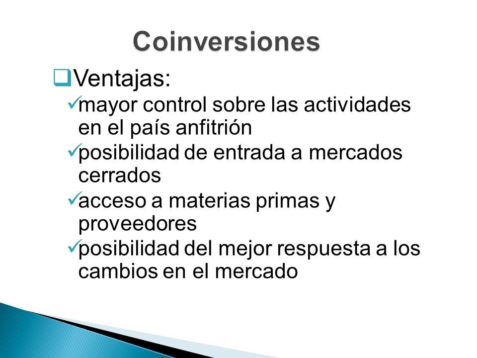Coinversiones Ventajas: