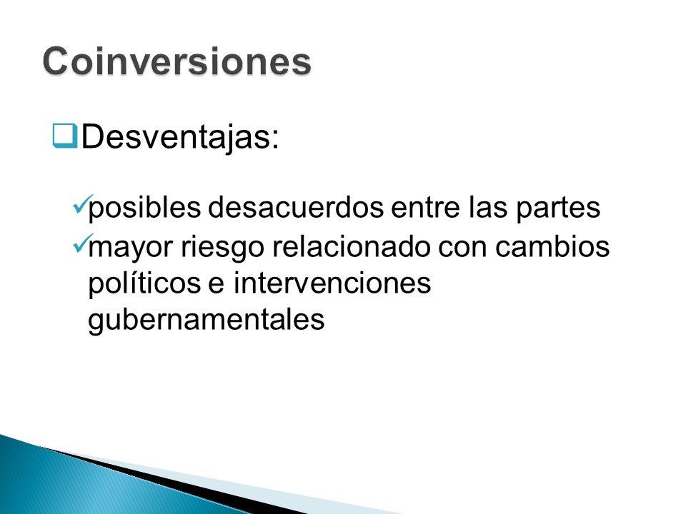 Coinversiones Desventajas: posibles desacuerdos entre las partes
