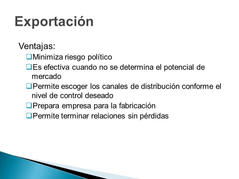 Exportación Ventajas: Minimiza riesgo político