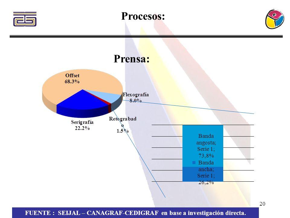 FUENTE : SEIJAL – CANAGRAF-CEDIGRAF en base a investigación directa.