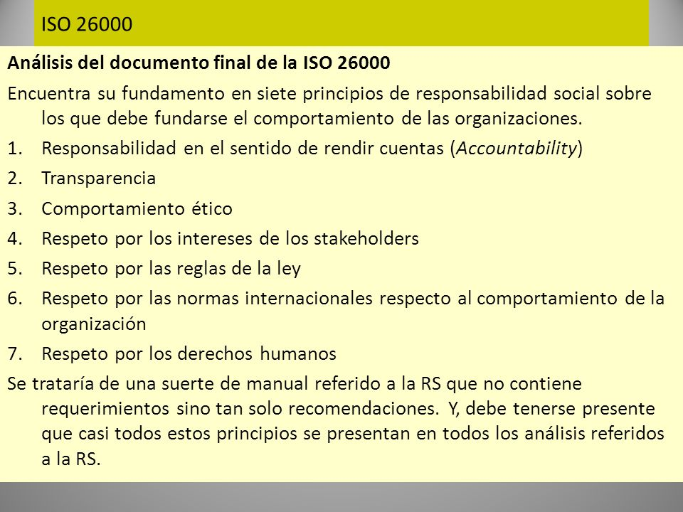 ISO 26000 Análisis del documento final de la ISO 26000