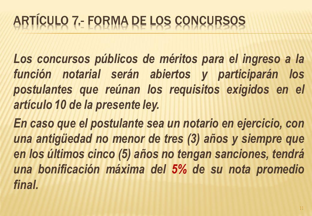 Artículo 7.- Forma de los Concursos