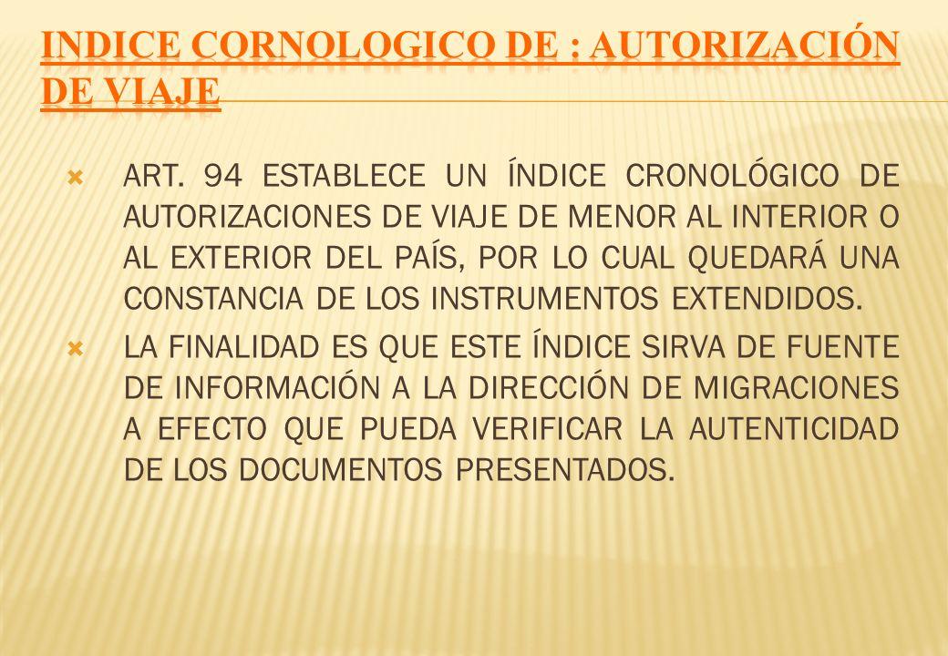 Indice cornologico de : AUTORIZACIÓN DE VIAJE