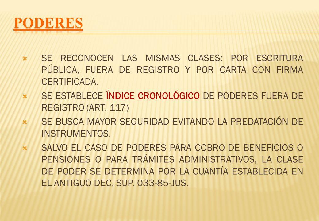 PODERESSE RECONOCEN LAS MISMAS CLASES: POR ESCRITURA PÚBLICA, FUERA DE REGISTRO Y POR CARTA CON FIRMA CERTIFICADA.