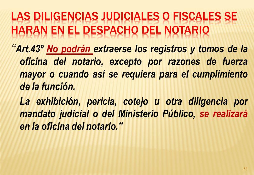 Las diligencias judiciales o fiscales se haran en el despacho del notario