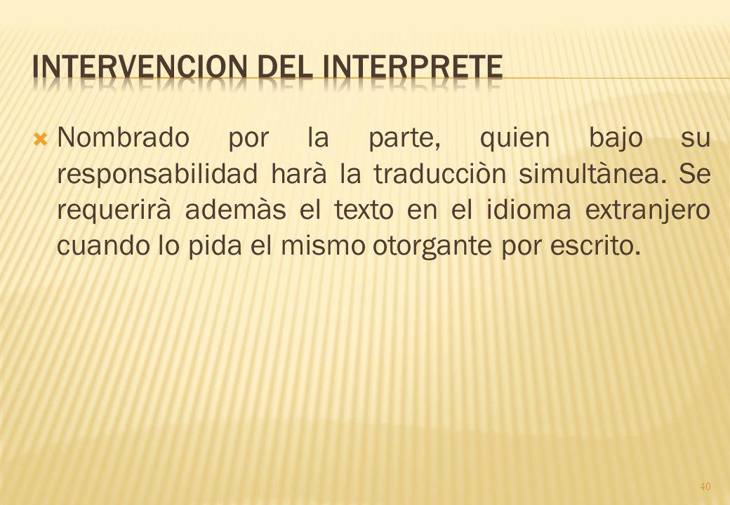 Intervencion del interprete