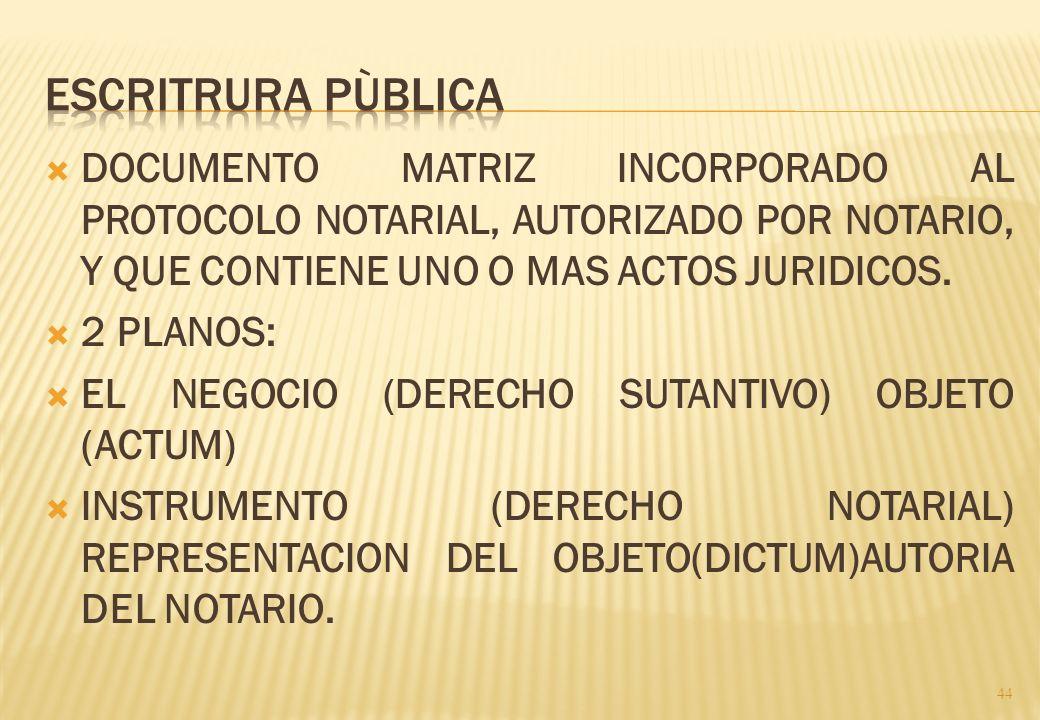 ESCRITRURA PÙBLICA DOCUMENTO MATRIZ INCORPORADO AL PROTOCOLO NOTARIAL, AUTORIZADO POR NOTARIO, Y QUE CONTIENE UNO O MAS ACTOS JURIDICOS.