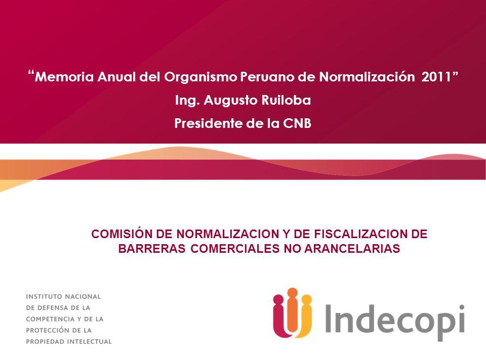 Memoria Anual del Organismo Peruano de Normalización 2011