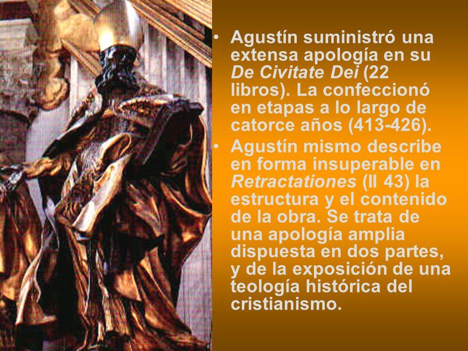 Agustín suministró una extensa apología en su De Civitate Dei (22 libros). La confeccionó en etapas a lo largo de catorce años (413-426).
