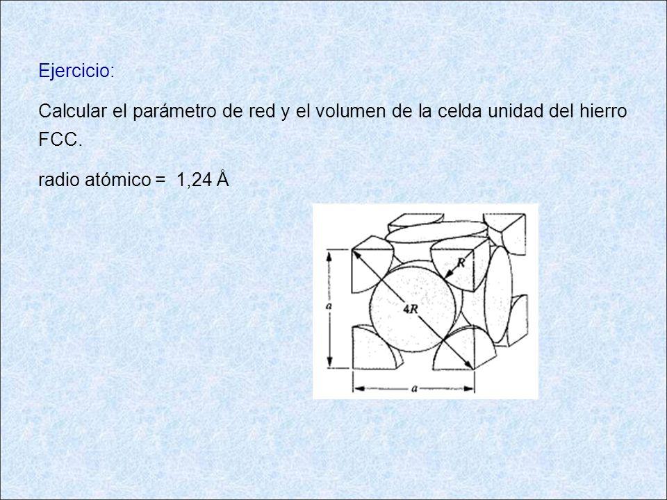 Ejercicio:Calcular el parámetro de red y el volumen de la celda unidad del hierro FCC.