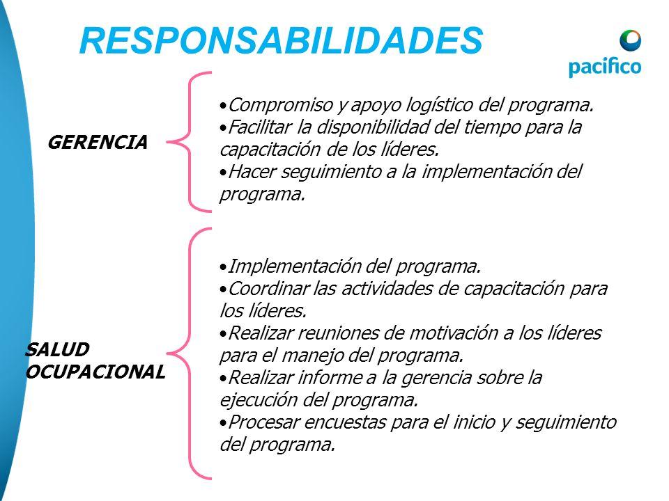 RESPONSABILIDADES Compromiso y apoyo logístico del programa.