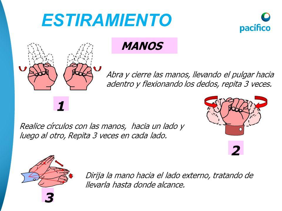 ESTIRAMIENTO MANOS. 1. Abra y cierre las manos, llevando el pulgar hacia adentro y flexionando los dedos, repita 3 veces.