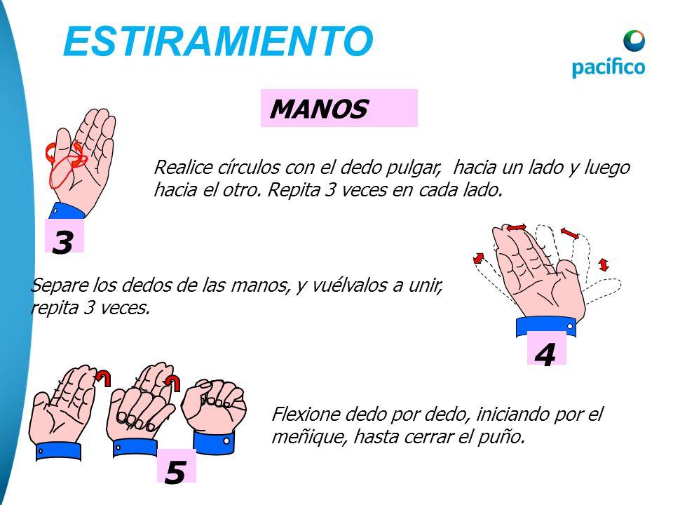ESTIRAMIENTO MANOS. 3. Realice círculos con el dedo pulgar, hacia un lado y luego hacia el otro. Repita 3 veces en cada lado.