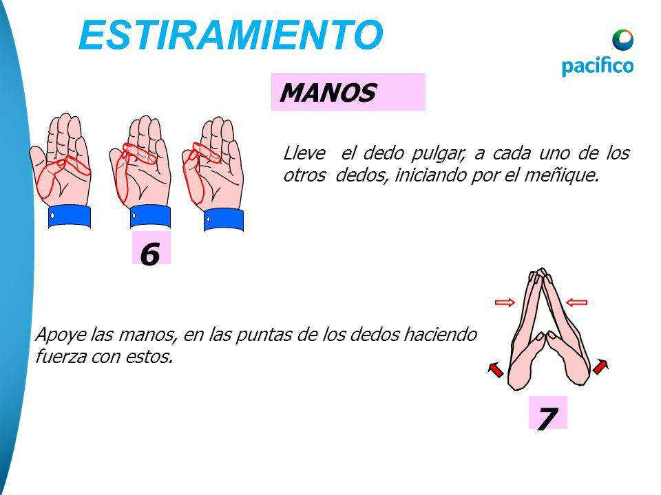 ESTIRAMIENTO MANOS. 6. Lleve el dedo pulgar, a cada uno de los otros dedos, iniciando por el meñique.