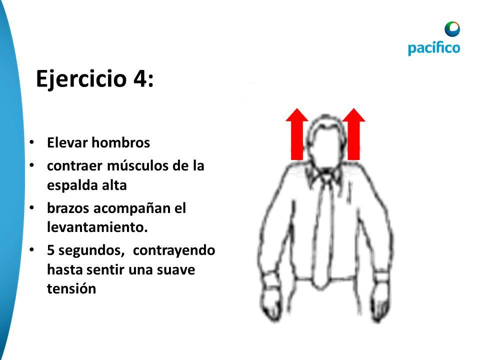 Ejercicio 4: Elevar hombros contraer músculos de la espalda alta