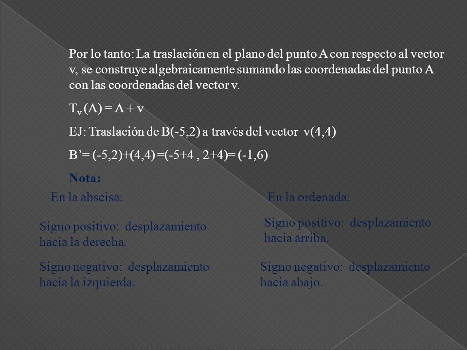 Por lo tanto: La traslación en el plano del punto A con respecto al vector v, se construye algebraicamente sumando las coordenadas del punto A con las coordenadas del vector v.