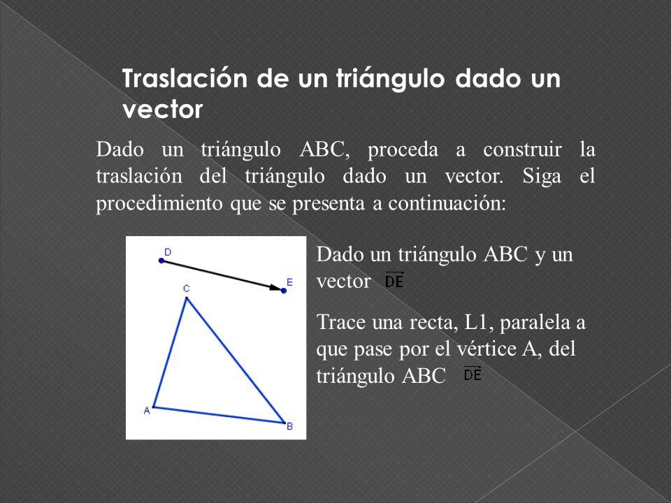 Traslación de un triángulo dado un vector