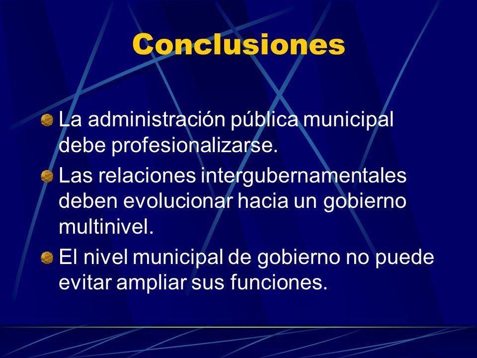 Conclusiones La administración pública municipal debe profesionalizarse.