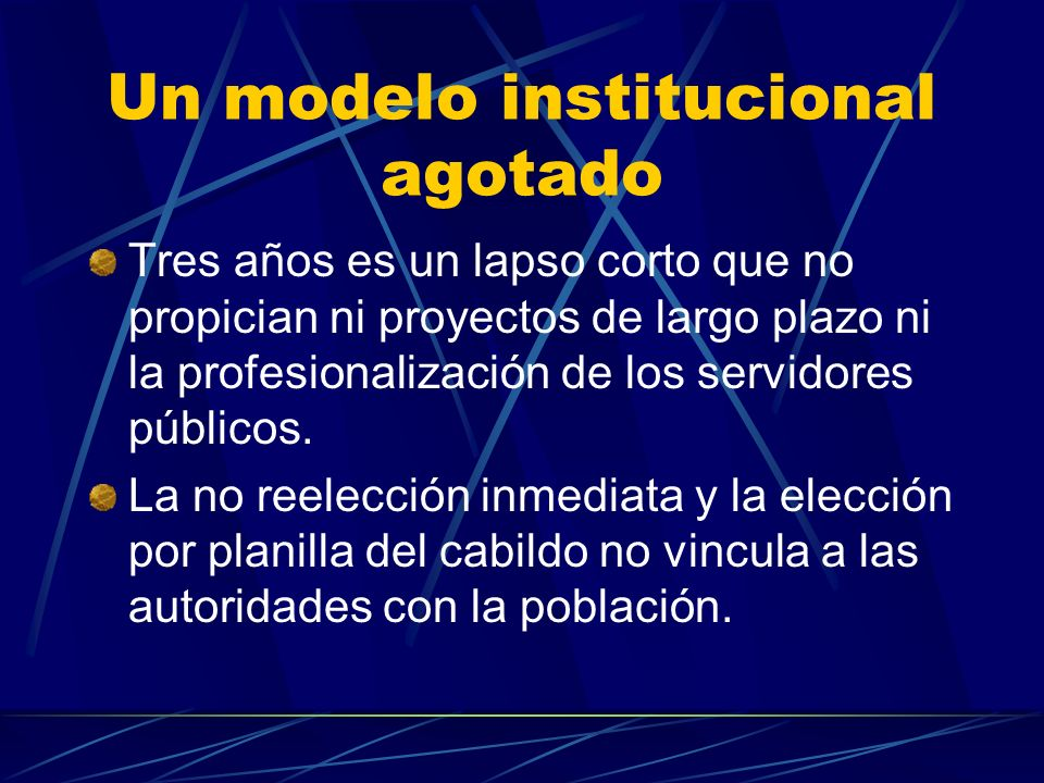 Un modelo institucional agotado
