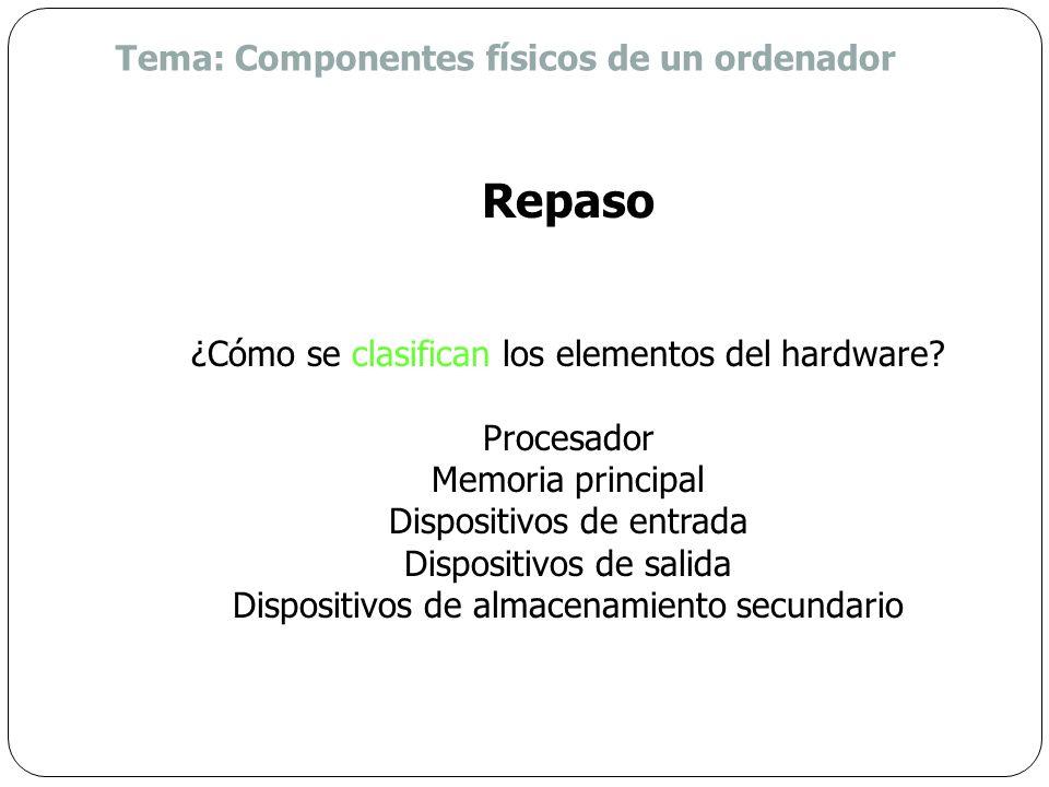 Repaso Tema: Componentes físicos de un ordenador