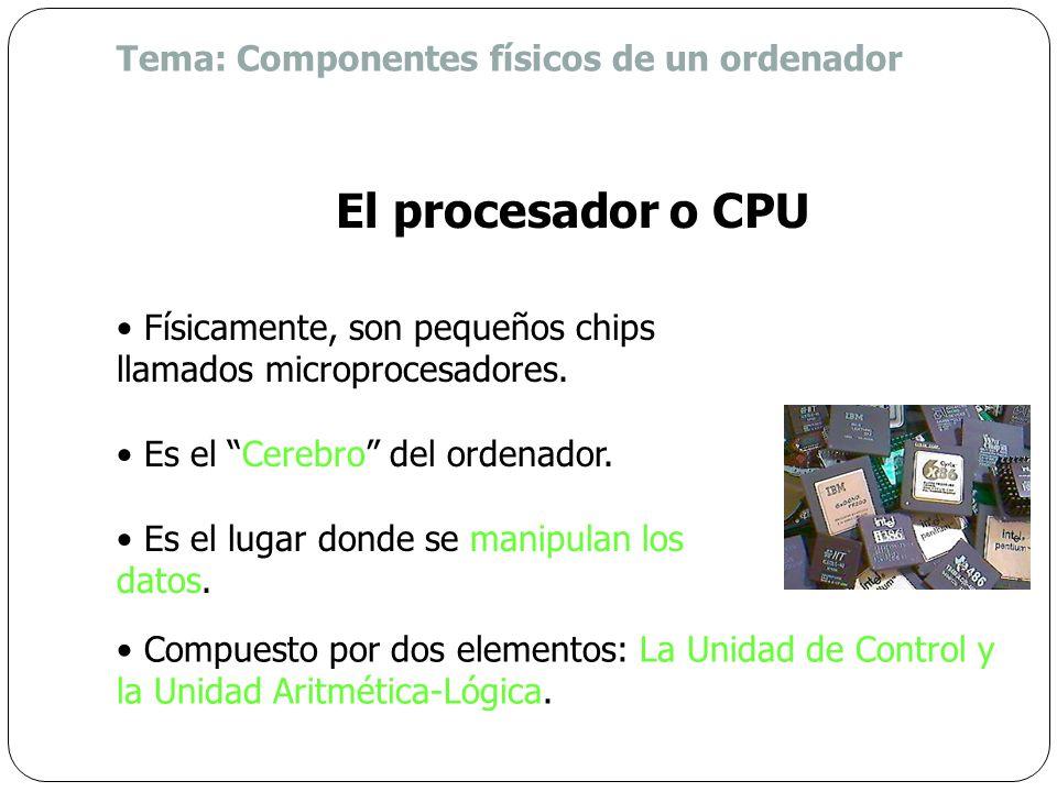 El procesador o CPU Tema: Componentes físicos de un ordenador