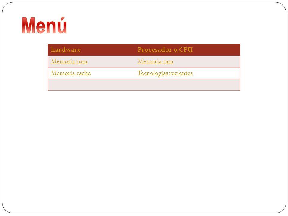 Menú hardware Procesador o CPU Memoria rom Memoria ram Memoria cache