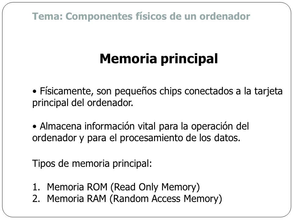 Memoria principal Tema: Componentes físicos de un ordenador