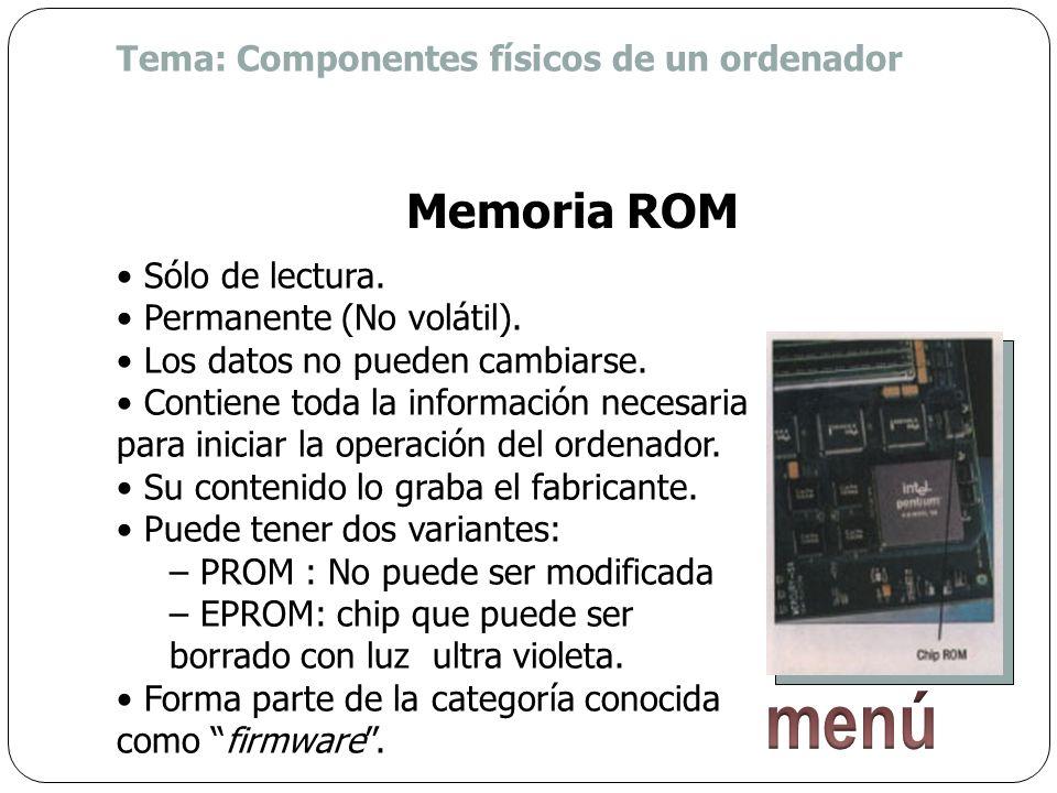 menú Memoria ROM Tema: Componentes físicos de un ordenador