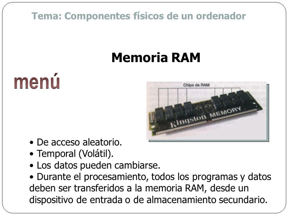 menú Memoria RAM Tema: Componentes físicos de un ordenador
