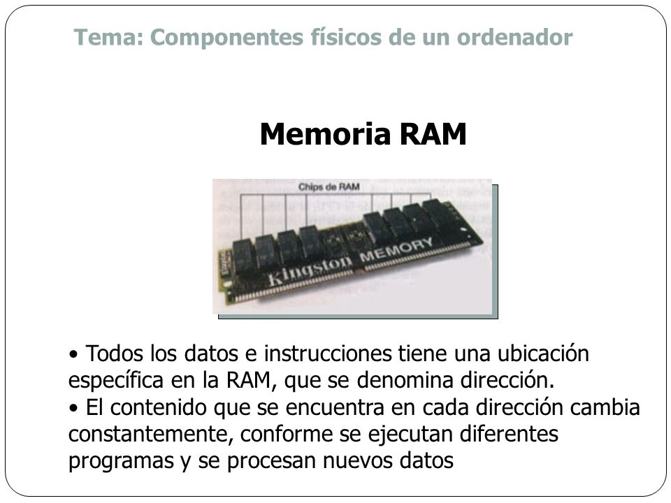 Memoria RAM Tema: Componentes físicos de un ordenador