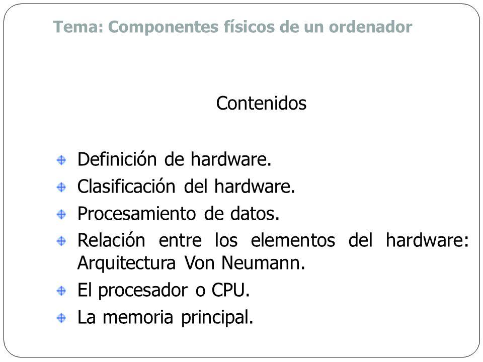 Definición de hardware. Clasificación del hardware.