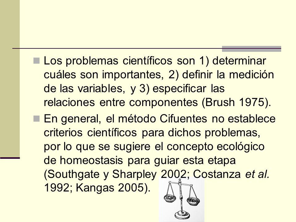 Los problemas científicos son 1) determinar cuáles son importantes, 2) definir la medición de las variables, y 3) especificar las relaciones entre componentes (Brush 1975).