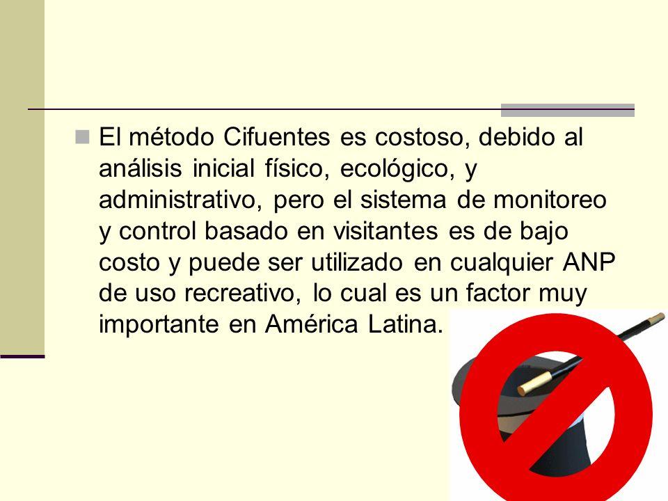 El método Cifuentes es costoso, debido al análisis inicial físico, ecológico, y administrativo, pero el sistema de monitoreo y control basado en visitantes es de bajo costo y puede ser utilizado en cualquier ANP de uso recreativo, lo cual es un factor muy importante en América Latina.